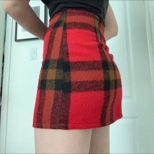 Plaid fuzzy mini skirt